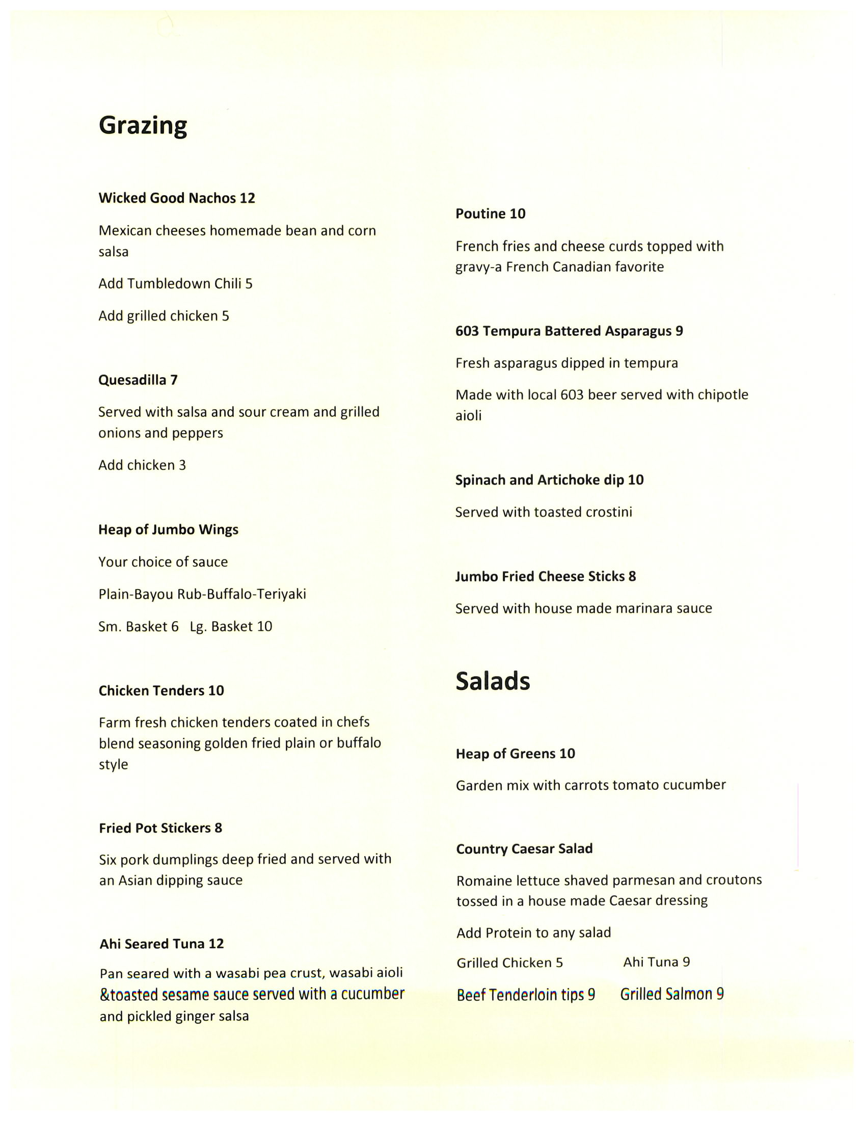 Tumbledown Farms - Menu2
