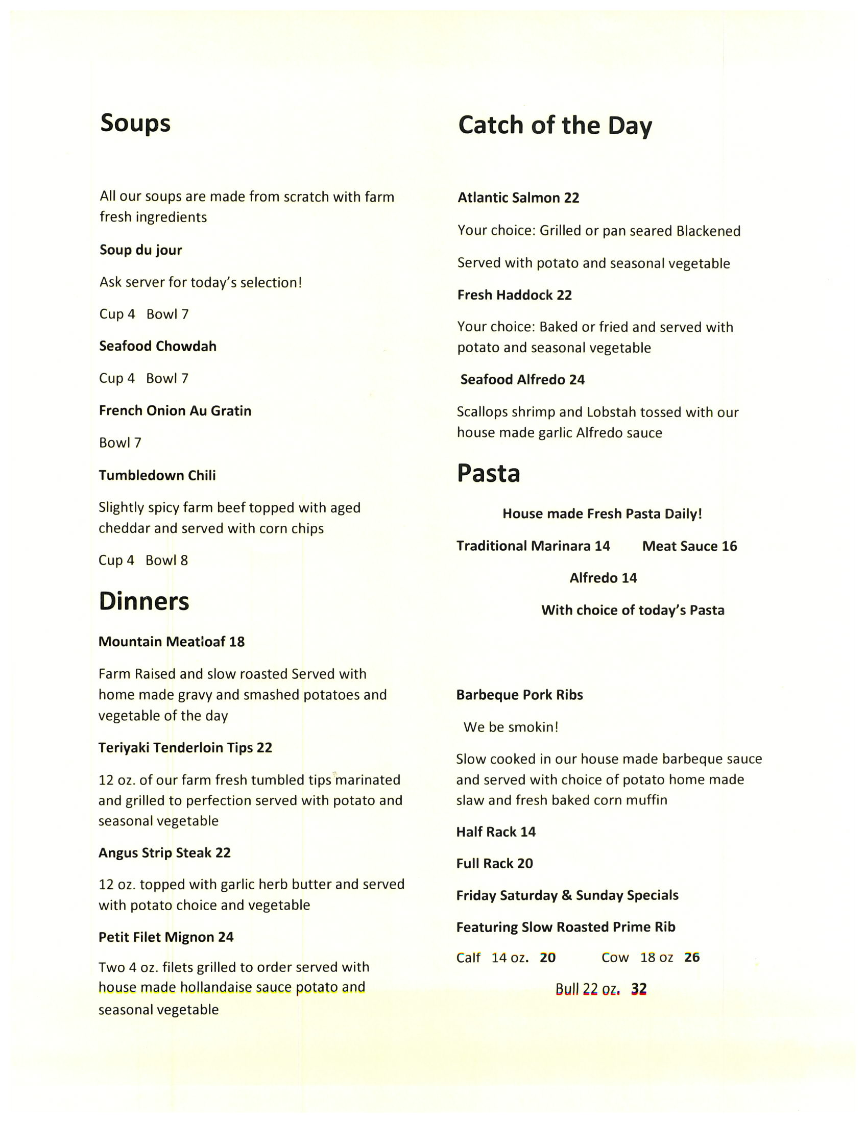 Tumbledown Farms - Menu3