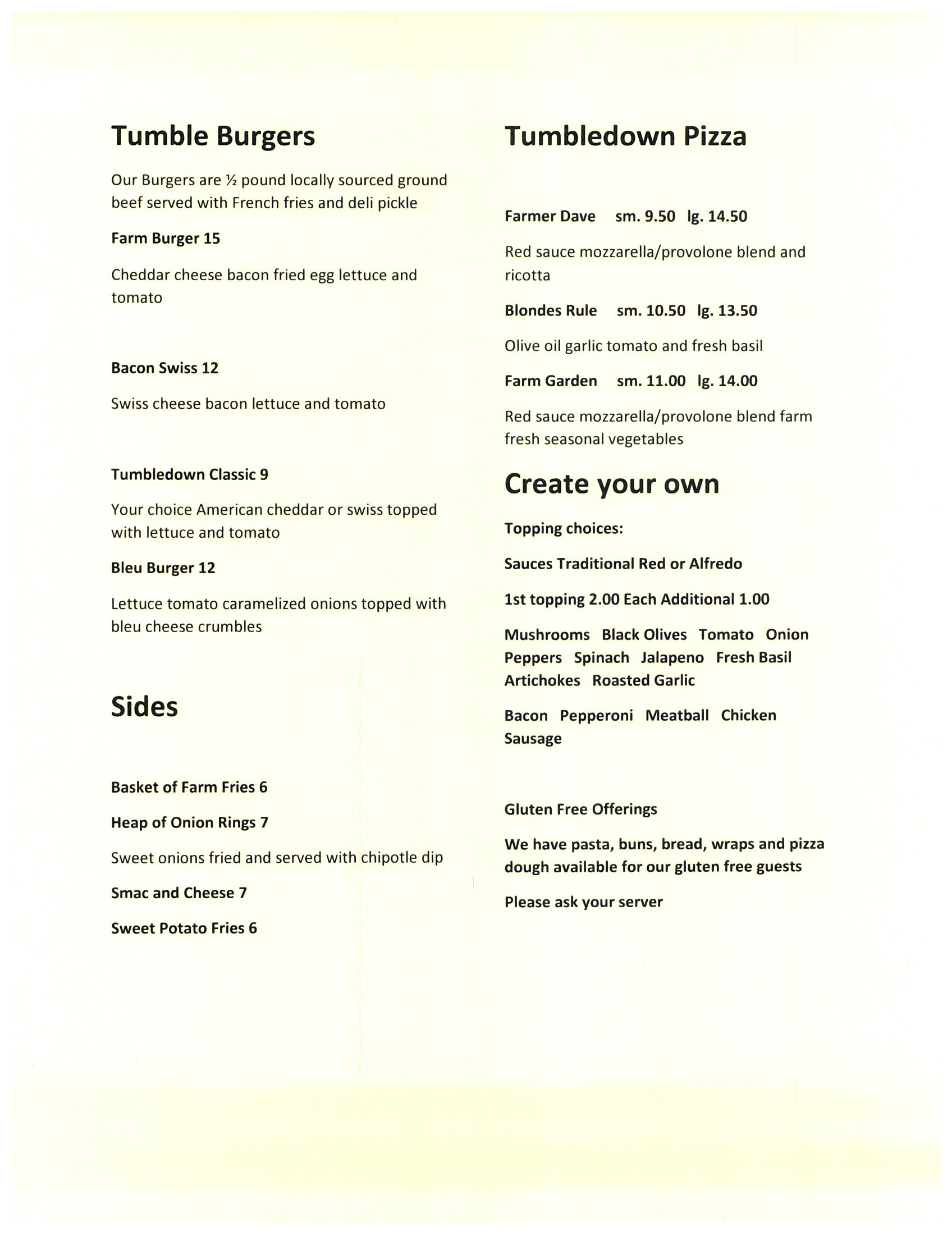 Tumbledown Farms - Menu4